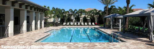 Residents of Tuscany homes, and their guests, will enjoy whiling away a sunny Florida Saturday next to this pool.
