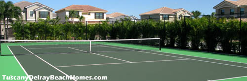 Imagine getting in a good tennis match on a Tuscany at Delray tennis court.